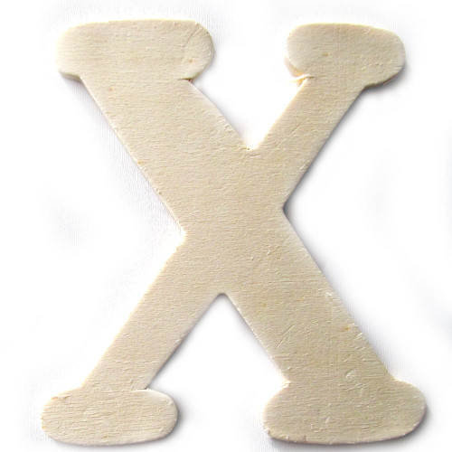 Unfinished Wood, 3-in, 4mm Thick, Letter, Letter X