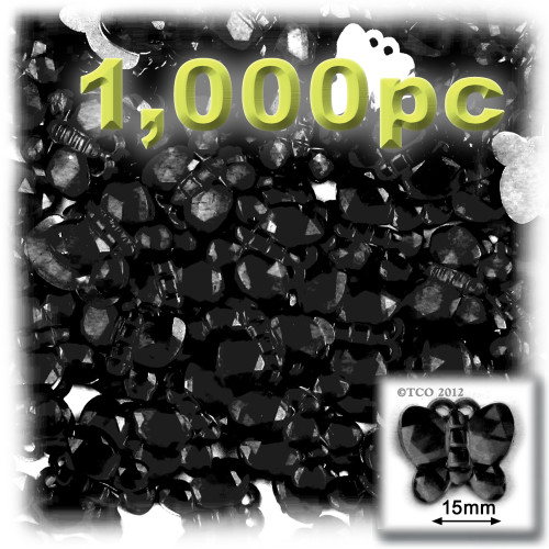 Rhinestones, Flatback, Butterfly, 15mm, 1,000-pc, Jet Black