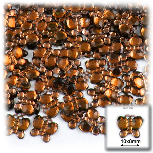 Rhinestones, Flatback, Butterfly, 10mm, 144-pc, Beer Brown