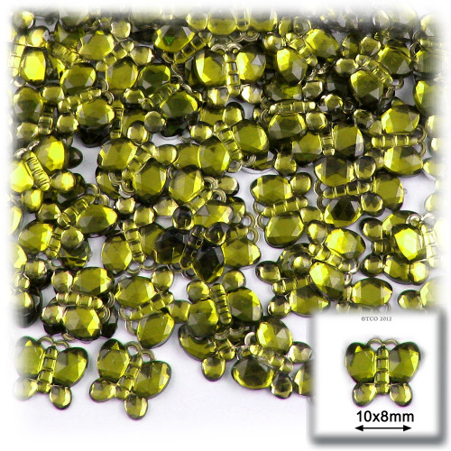 Rhinestones, Flatback, Butterfly, 10mm, 144-pc, Olive Green