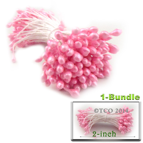 Pearl Stamen, 2-in, 3mm, 144-pc, Pink