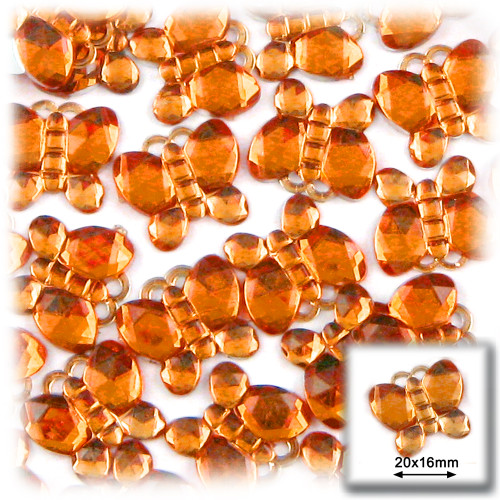 Rhinestones, Flatback, Butterfly, 20mm, 144-pc, Orange