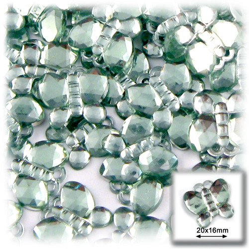 Rhinestones, Flatback, Butterfly, 20mm, 144-pc, Light Green