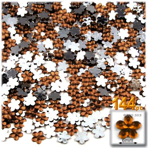 Rhinestones, Flatback, Flower, 6mm, 144-pc, Beer Brown