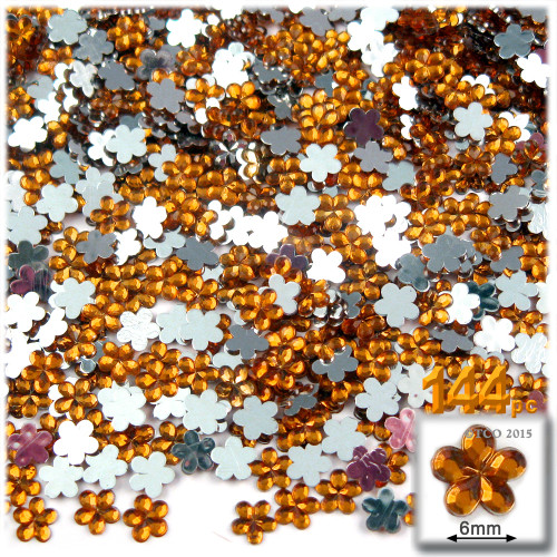 Rhinestones, Flatback, Flower, 6mm, 144-pc, Orange