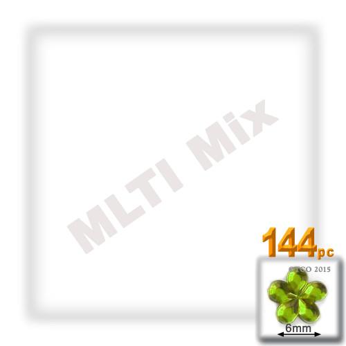 Rhinestones, Flatback, Flower, 6mm, 144-pc, Mixed Colors