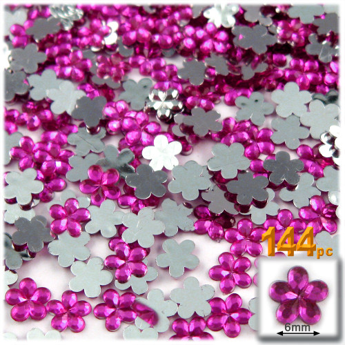 Rhinestones, Flatback, Flower, 6mm, 144-pc,Fuchsia
