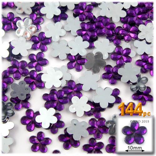 Rhinestones, Flatback, Flower, 10mm, 144-pc, Purple (Amethyst)