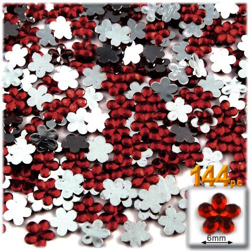 Rhinestones, Flatback, Flower, 6mm, 144-pc, Devil Red Wine