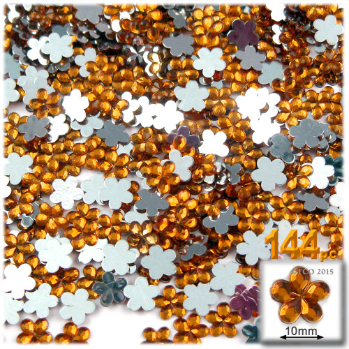 Rhinestones, Flatback, Flower, 10mm, 144-pc, Orange
