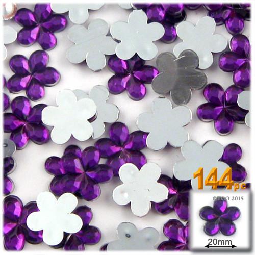 Rhinestones, Flatback, Flower, 20mm, 144-pc, Purple (Amethyst)