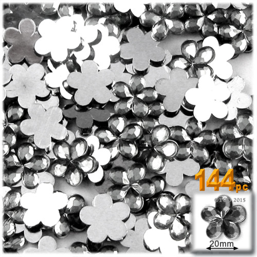 Rhinestones, Flatback, Flower, 20mm, 144-pc, Charcoal Gray