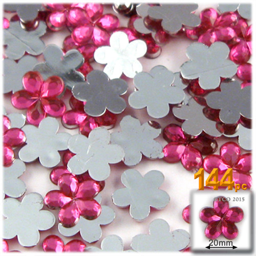 Rhinestones, Flatback, Flower, 20mm, 144-pc, Hot Pink