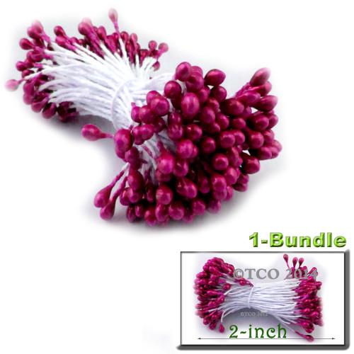 Pearl Stamen, 2-in, 3mm, 144-pc, Fuchsia