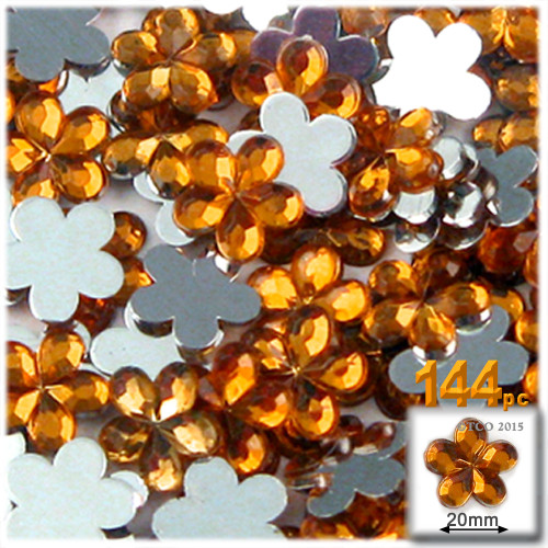 Rhinestones, Flatback, Flower, 20mm, 144-pc, Orange