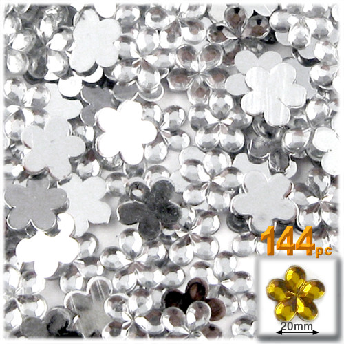 Rhinestones, Flatback, Flower, 20mm, 144-pc, Clear