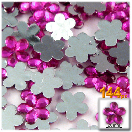 Rhinestones, Flatback, Flower, 20mm, 144-pc Fuchsia