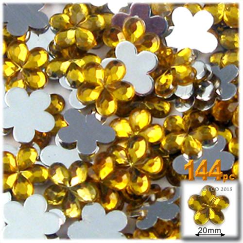 Rhinestones, Flatback, Flower, 20mm, 144-pc, Golden Yellow