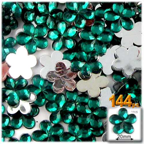 Rhinestones, Flatback, Flower, 20mm, 144-pc, Emerald Green