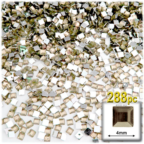 Rhinestones, Flatback, Square, 4mm, 288-pc, Champagne