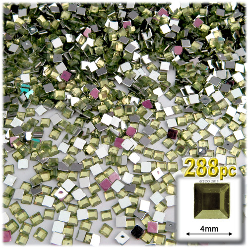Rhinestones, Flatback, Square, 4mm, 288-pc, Olive Green