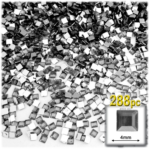 Rhinestones, Flatback, Square, 4mm, 288-pc, Charcoal Gray