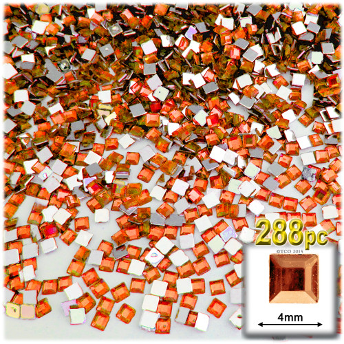 Rhinestones, Flatback, Square, 4mm, 288-pc, Orange