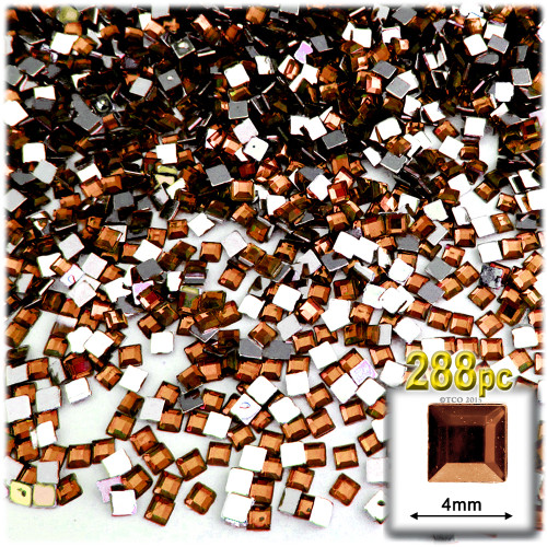 Rhinestones, Flatback, Square, 4mm, 288-pc, Beer Brown