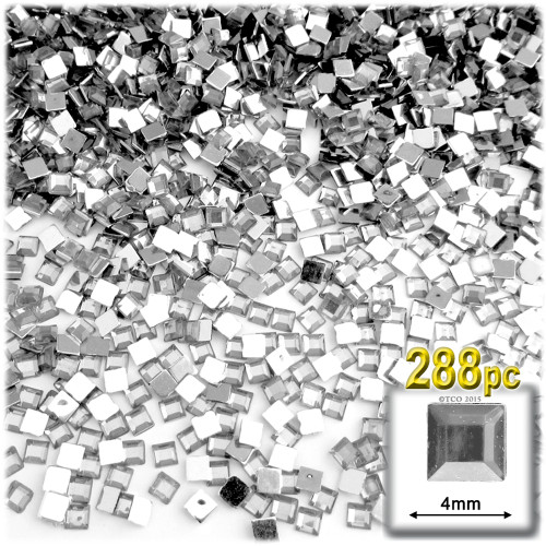 Rhinestones, Flatback, Square, 4mm, 288-pc, Clear