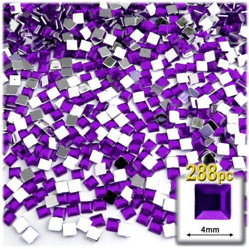Rhinestones, Flatback, Square, 4mm, 288-pc, Purple (Amethyst)