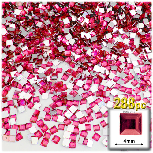 Rhinestones, Flatback, Square, 4mm, 288-pc, Hot Pink