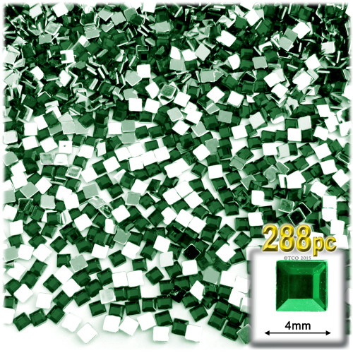 Rhinestones, Flatback, Square, 4mm, 288-pc, Emerald Green