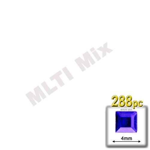 Rhinestones, Flatback, Square, 4mm, 288-pc, Mixed Colors