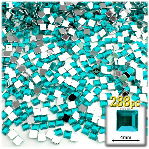 Rhinestones, Flatback, Square, 4mm, 288-pc, Aqua Blue