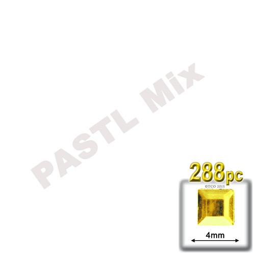 Rhinestones, Flatback, Square, 4mm, 288-pc, Pastel Assortment