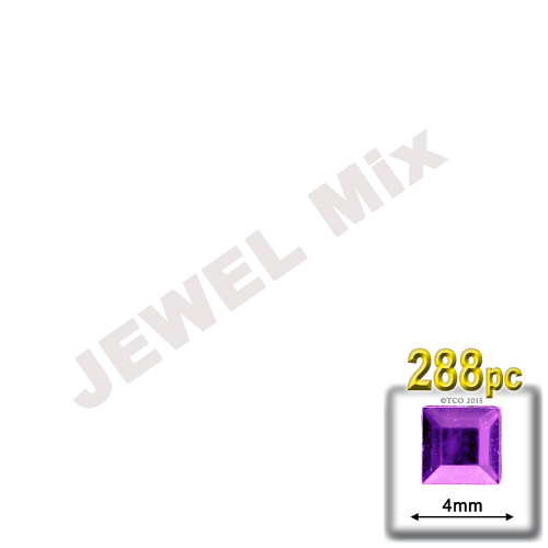 Rhinestones, Flatback, Square, 4mm, 288-pc, Jewel Tone Assortment