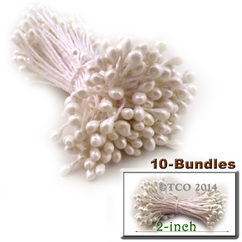 Pearl Stamen, 2-in, 3mm, 1,440-pc, White