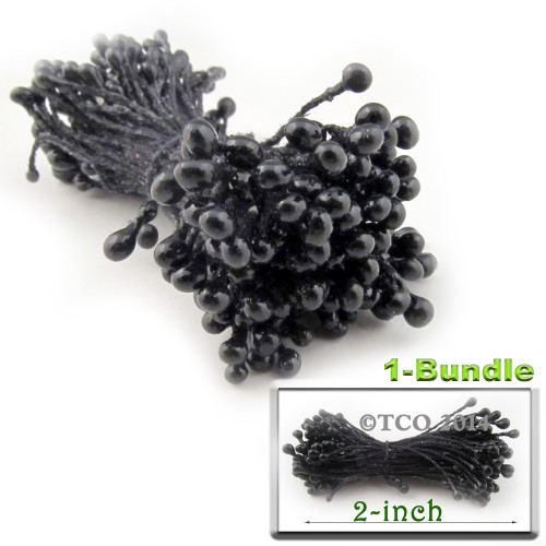 Pearl Stamen, 2-in, 3mm, 144-pc, Black