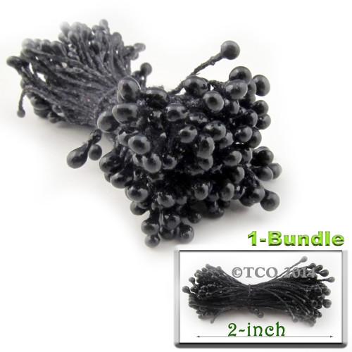 Pearl Stamen, 2-in, 3mm, 144-pc, Black