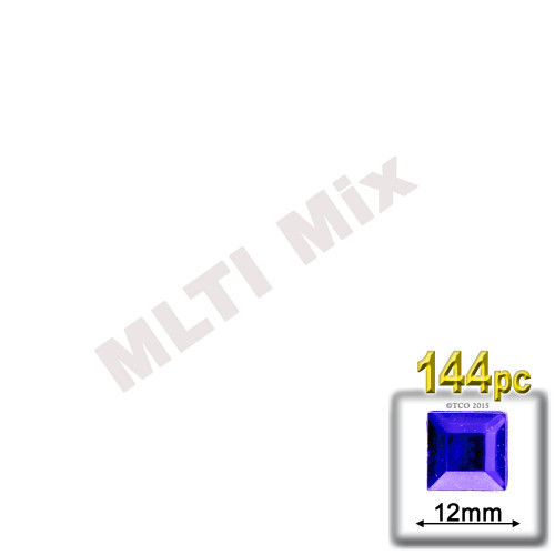 Rhinestones, Flatback, Square, 12mm, 144-pc, Mixed Colors