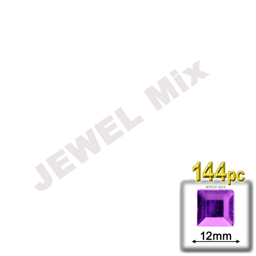 Rhinestones, Flatback, Square, 12mm, 144-pc, Jewel Tone Assortment