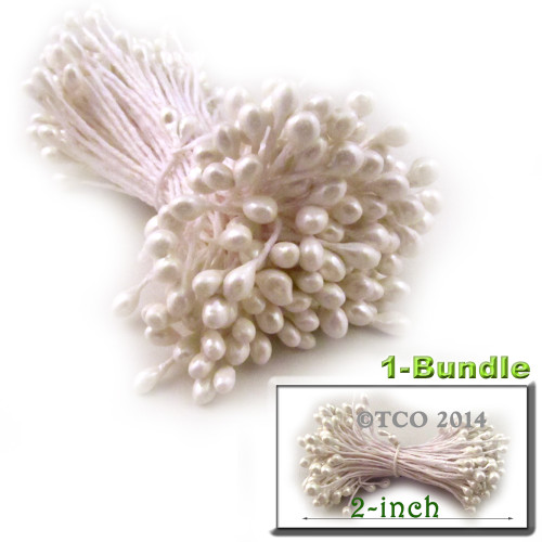 Pearl Stamen, 2-in, 3mm, 144-pc, White