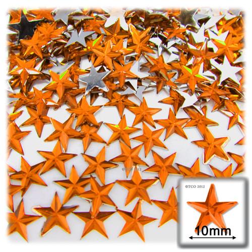 Rhinestones, Flatback, Round, Star, 10mm, 144-pc, Orange