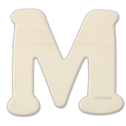 Unfinished Wood, 4-in, 1/8-in Thick, Letter, Letter M