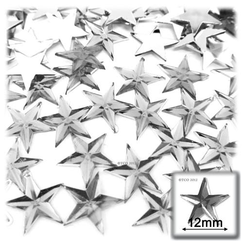 Rhinestones, Flatback, Star, 12mm, 144-pc, Clear