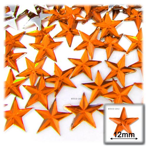 Rhinestones, Flatback, Star, 12mm, 144-pc, Orange