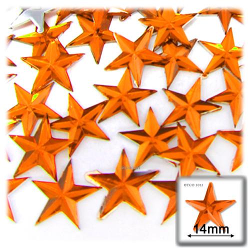 Rhinestones, Flatback, Star, 14mm, 144-pc, Orange