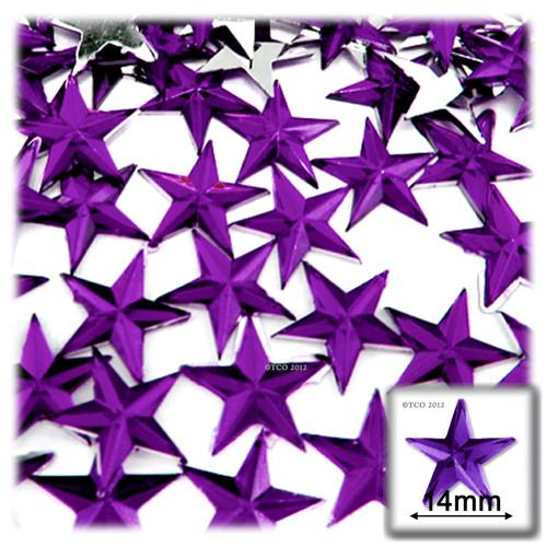 Rhinestones, Flatback, Star, 14mm, 144-pc, Purple (Amethyst)