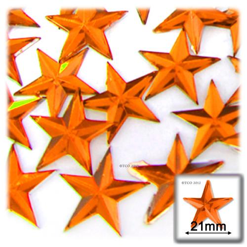 Rhinestones, Flatback, Star, 21mm, 144-pc, Orange