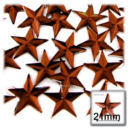 Rhinestones, Flatback, Star, 21mm, 144-pc, Beer Brown